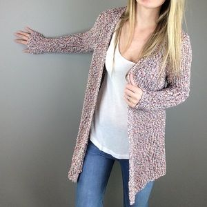 J. Jill red and black knit open front cardigan